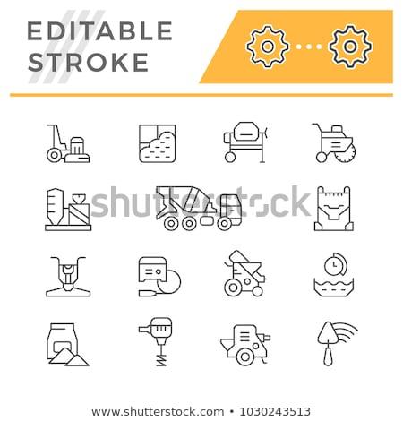 Spatula with brick line icon. Stock photo © RAStudio