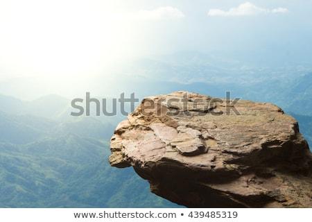 Top klif illustratie wolken gras landschap Stockfoto © bluering