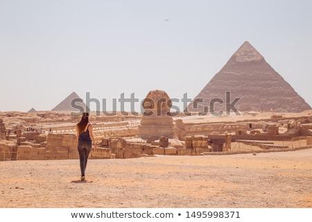 Piramis Giza Kairó Egyiptom tájkép kék Stock fotó © simply