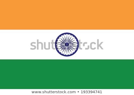Foto stock: ícone · bandeira · Índia · emblema · isolado · branco