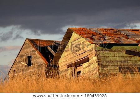 old barn and wooden granary saskatchewan stock photo © pictureguy