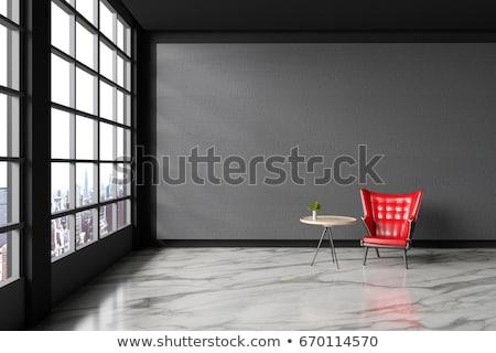 rosso · nero · pelle · divano · realistico · casa - foto d'archivio © bluering