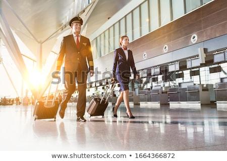 Pilóta repülőtér illusztráció munka repülőgép kalap Stock fotó © adrenalina