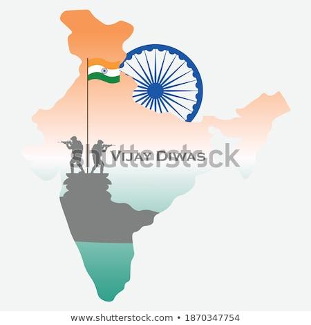 map of india with amar jyoti vector design illustration stock photo © sarts