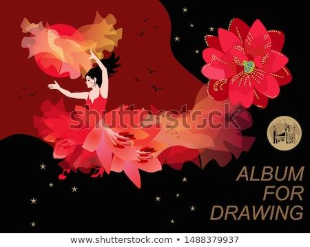 hegedűművész · nő · naplemente · illusztráció · természet · jókedv - stock fotó © adrenalina