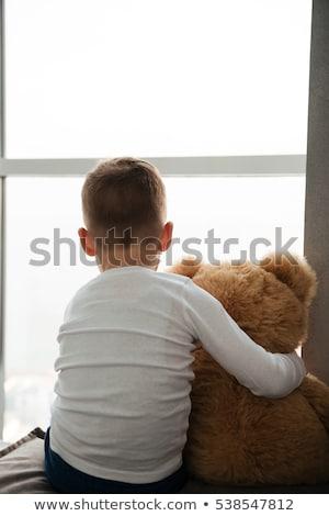 Tek başına küçük erkek oyuncak ayı pencere görüntü Stok fotoğraf © deandrobot