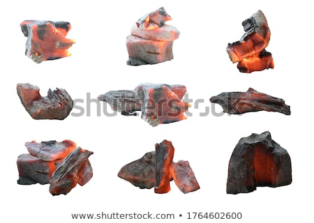 Burning charcoal isolated. hot Coal on white background Stock photo © popaukropa