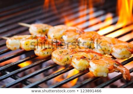 Grillezett garnélák barbecue közelkép friss narancs Stock fotó © Hofmeester