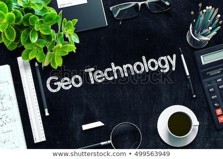 Black Chalkboard with Geo Technology Concept. 3D Rendering. Stock photo © tashatuvango