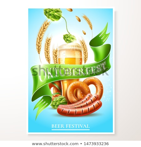 octoberfest festival banner with beer pretzel and wheat stock photo © loopall