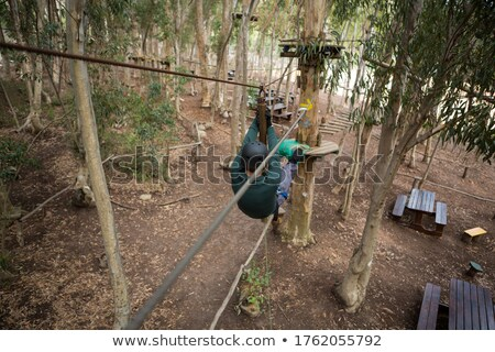 Hiker man going down a zip line in the forest Stock photo © wavebreak_media