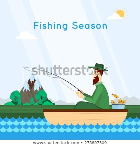 Pescador sessão barco homem assistindo lazer Foto stock © IS2