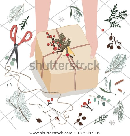 Gift box wrapped in craft paper stock photo © Lana_M