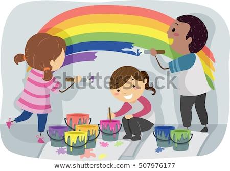 дети радуга краской стены иллюстрация Сток-фото © lenm