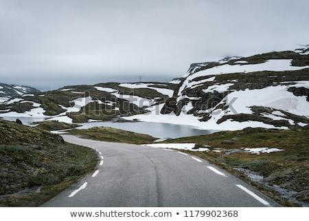 sceniczny · jezioro · Norwegia · śniegu · pokryty · góry - zdjęcia stock © kotenko