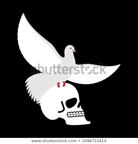 White pigeon and skull. Dove and skeleton head. Vector illustrat Stock photo © popaukropa