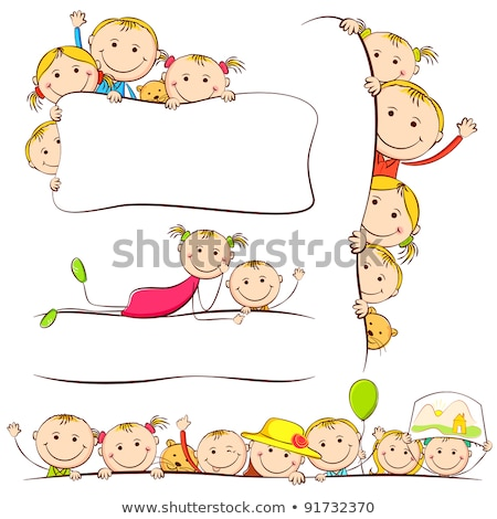 ストックフォト: フレーム · ボード · 幸せ · 子供 · 実例 · テクスチャ