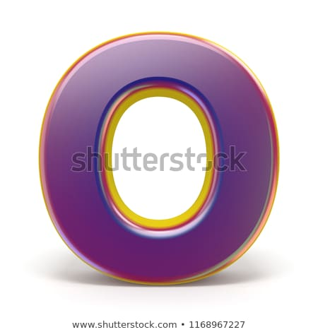 Letter O purple font yellow outlined 3D Stock photo © djmilic