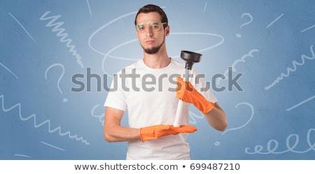 Oranje rubberen handschoenen doodle behang huis muur Stockfoto © ra2studio