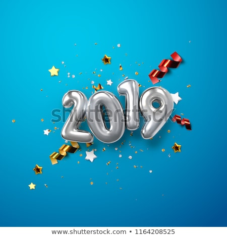Stock photo: Happy New Year 2019. Silver numbers with ribbons and confetti on a white background. Vector illustra