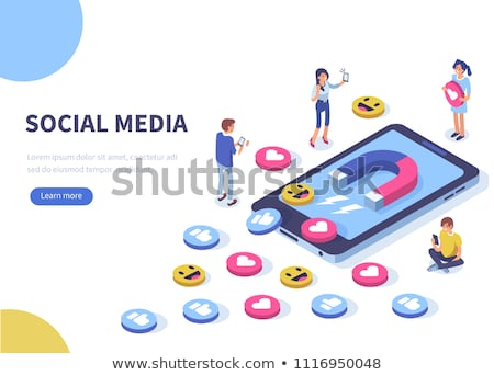 Social media concept. Addicted people concept. Illustration of young people using lap tops. Flat des Stock photo © makyzz