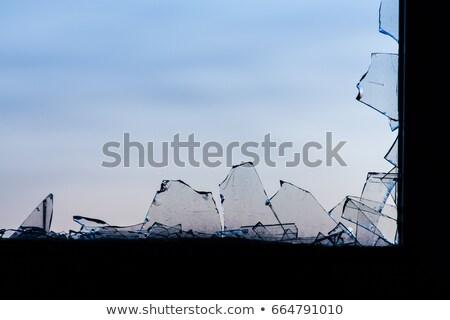 битое · стекло · иллюстрация · окна · кадр · синий · черный - Сток-фото © colematt