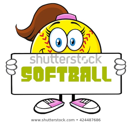 Cute softball fille mascotte dessinée personnage Photo stock © hittoon