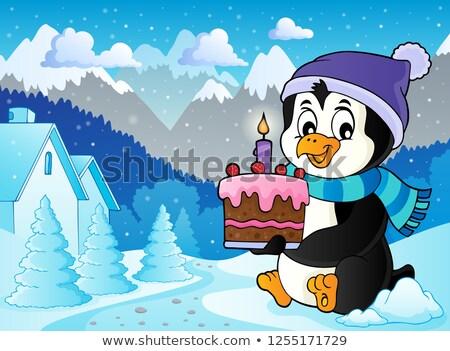 Pingvin tart torta kép fa művészet Stock fotó © clairev