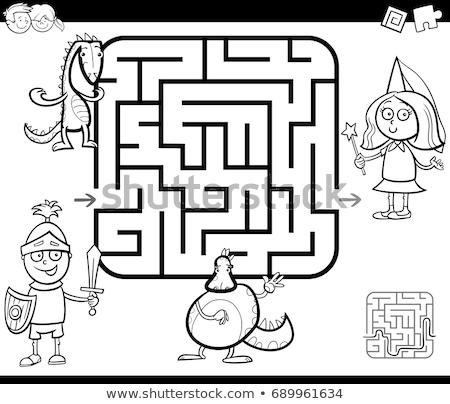 Laberinto juego color libro nino nina Foto stock © izakowski