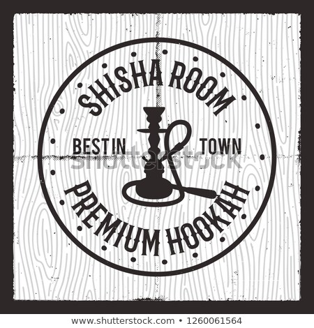 Hookah card design layout. Shisha silhouette logo. Relax label, badge. Vintage poster. Lounge cafe e Stock photo © JeksonGraphics