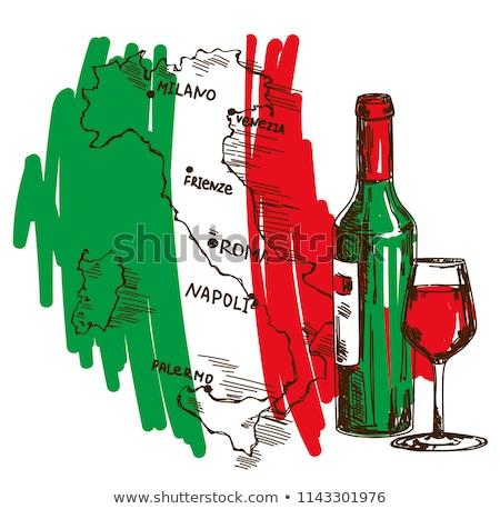 Wijn kaart poster witte wijn fles glas kristal Stockfoto © robuart
