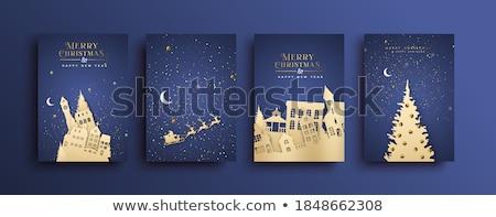 merry christmas papercut style tree landscape background Stock photo © SArts