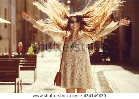 Foto bella hippie donna indossare Foto d'archivio © deandrobot