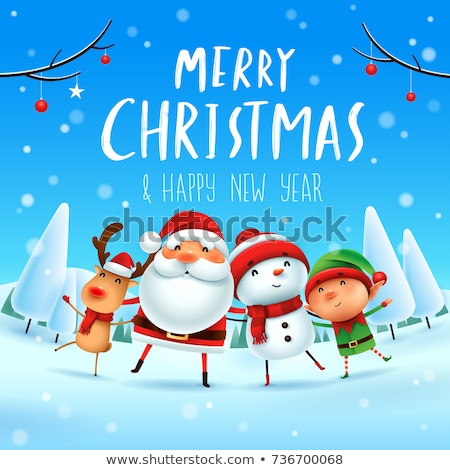 Merry Christmas Santa Claus and Elf Winter Holiday Stock photo © robuart