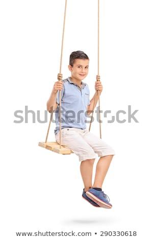Chłopca posiedzenia huśtawka ilustracja dziecko sztuki Zdjęcia stock © bluering