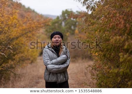 женщину холодно зима день вверх горячий напиток Сток-фото © Kzenon