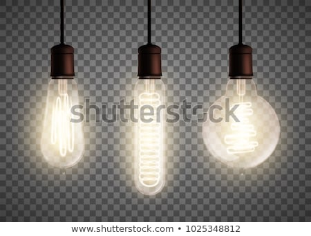 light bulb vintage set vector glowing shine lamp transparent 3d realistic electric retro loft or s stock photo © pikepicture