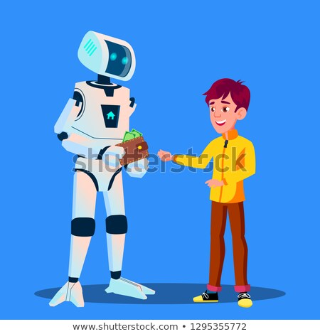 robot gives money to child vector isolated illustration stock photo © pikepicture