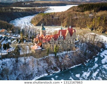 kastély · tél · fal · tájkép · hotel · tó - stock fotó © Hochwander