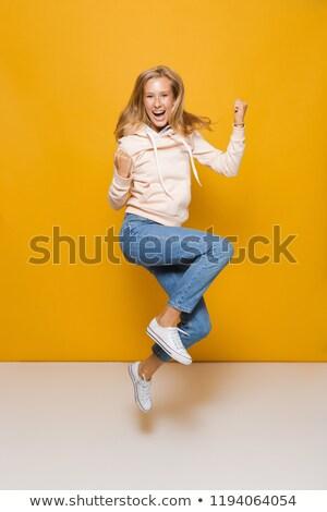 imzalamak · kadın · atlama · poster - stok fotoğraf © deandrobot