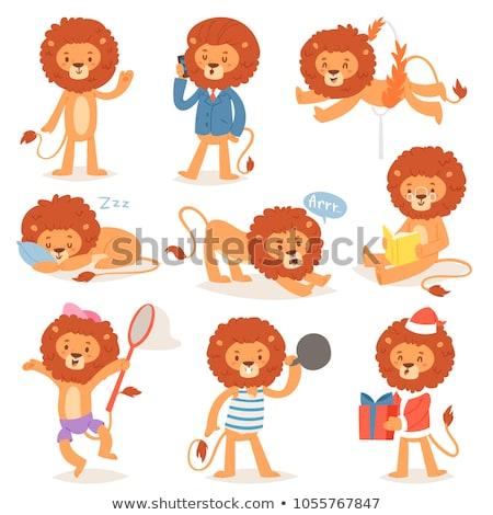 Stok fotoğraf: Ayarlamak · erkek · aslan · karakter · örnek · arka · plan