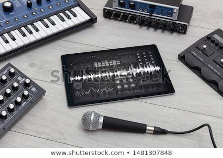 Tabletta elektronikus zene üres technológia háttér Stock fotó © ra2studio