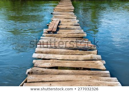 Fából készült híd erdő fa fa zöld Stock fotó © njnightsky