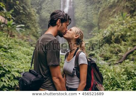 Romantic couple kissing in the rainforest Stock photo © konradbak