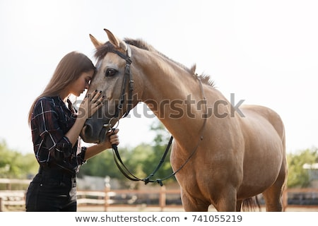 Foto d'archivio: Beautiful Young Woman With A Calm Horse