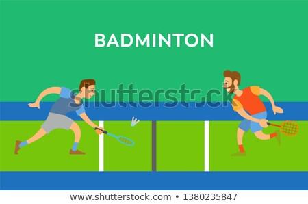 Erkekler badminton vektör poster dekore edilmiş Stok fotoğraf © robuart