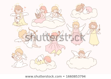 Kid Girl Angel Flying Harp Stock photo © lenm