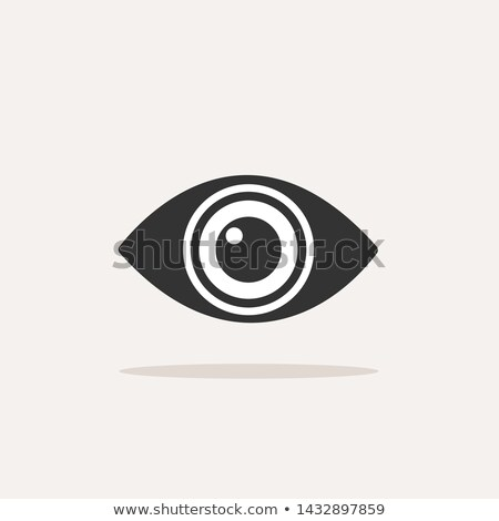 Body senses vision. Eye icon with shadow on beige background Stock photo © Imaagio
