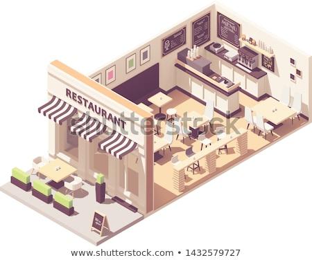 Vector isometric restaurant interior cross-section Stock photo © tele52