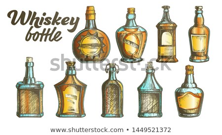 Color dibujado a mano whisky botella etiqueta vector Foto stock © pikepicture